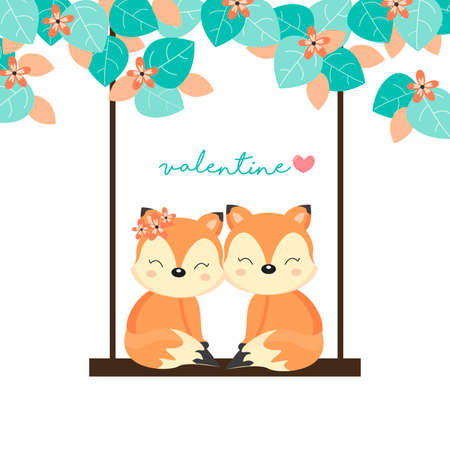 Valentine's Day Cards. Couple foxes on swing in the forest. Banque d'images - 122273511