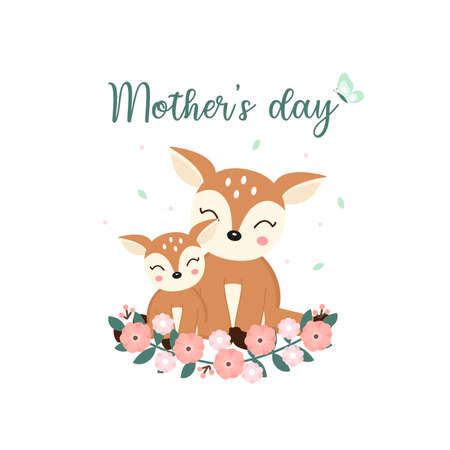 Animales lindos para la tarjeta del día de la madre. Dibujos animados de mamá ciervo y su bebé.