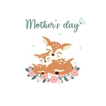 Cute animals for Mothers Day card. Deer Mom and Her Baby cartoon. Ilustración de vector
