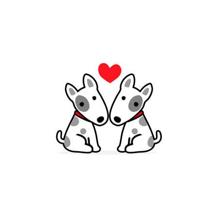Valentines day illustration. Couple terrier dog in love. Illustration