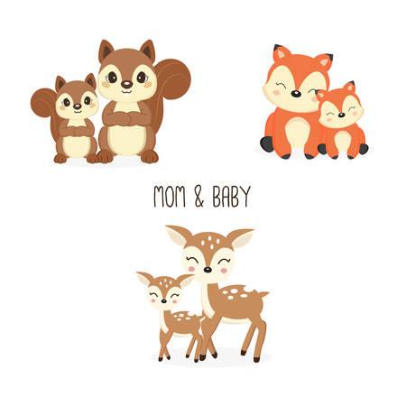 Mignonne mère et bébé animaux des bois. Dessin animé renards, cerfs, écureuils.