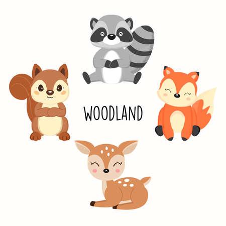 Lindos animales del bosque. Ilustración de vector