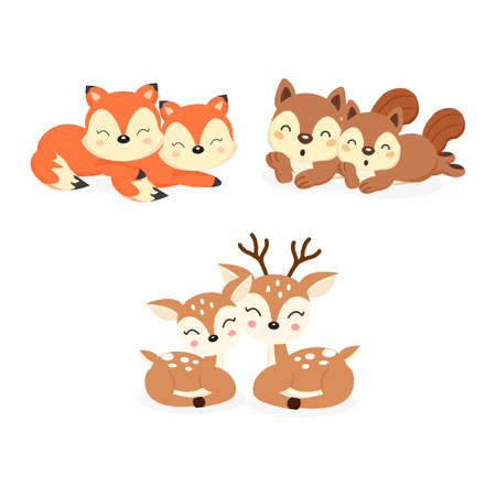 Set of cute couple woodland animals. Foxes,Deer,Squirrels cartoon. Banque d'images - 122273647