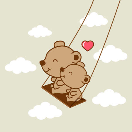 Happy bear riding on a swing. Vetores