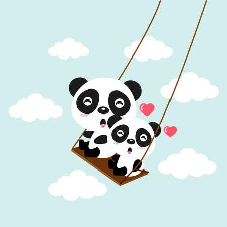 Happy panda riding on a swing.
