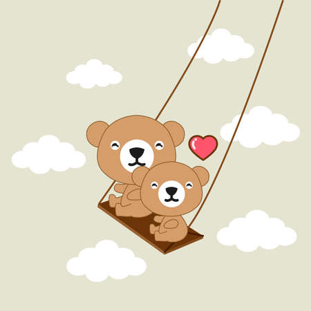 Happy bears riding on a swing.