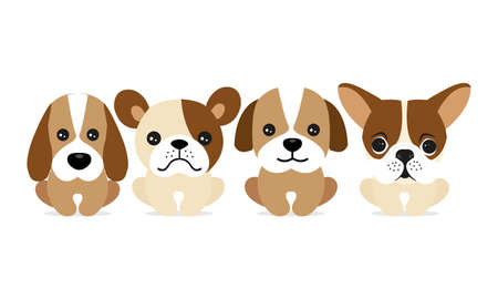 Happy dog characters on white background. Vector Illustratie