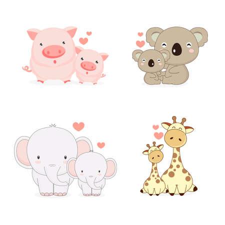 Mom and baby animals with love. Pig,Koala,Elephant and Giraffe cartoon.