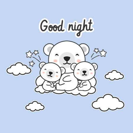 Good night card .Cute Polar bears on the cloud.