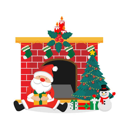 Merry Christmas greeting card with Santa Claus, snowman, fireplace and tree. vector illustration.