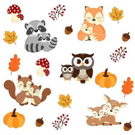 Fond d'animaux des bois. Dessin animé de raton laveur, de renard, d'écureuil, de hibou et de cerf. illustration vectorielle. Vecteurs