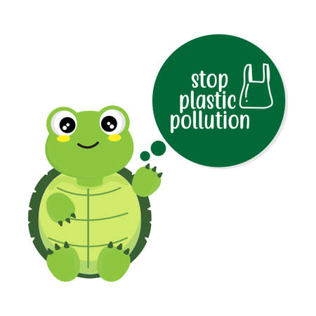 Turtle say stop plastic pollution cartoon.