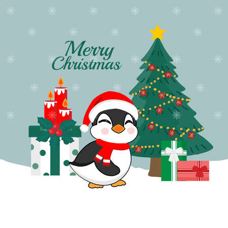 Merry Christmas card. Cute Penguin wearing Santa Claus hat