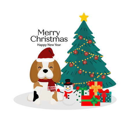 Merry Christmas card with cute dog in Santa's hat.
