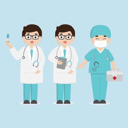 Concetto di squadra del personale medico in ospedale. Personaggi dei cartoni animati medico e infermiere.
