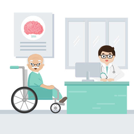 The doctor explain the symptoms of brain disease to senior patient. Illustration