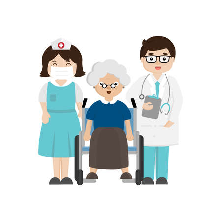 Doctor, nurse and senior patient in wheelchair. Stock Illustratie