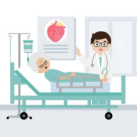 El médico explica los síntomas de las enfermedades cardíacas al paciente mayor.