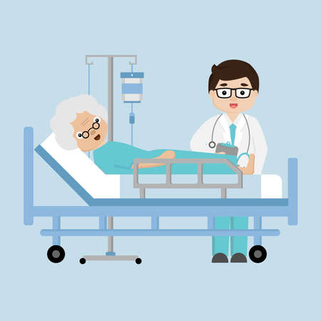 Doctors visit  patient elderly woman lying in a medical bed.