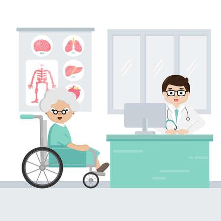 The doctor explain the symptoms of uterine disease to senior patient.