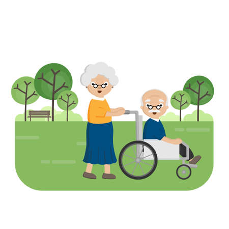 Senior Elderly couple in the park. Old woman carries an elderly man in a wheelchair.