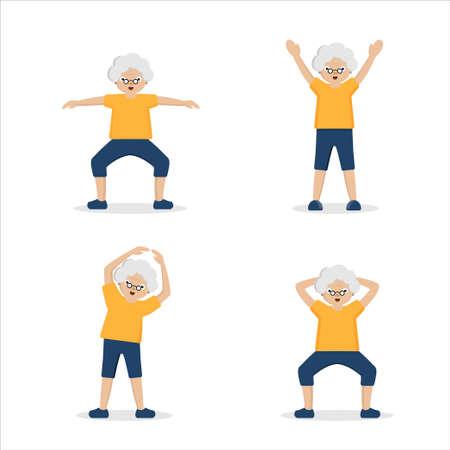 Senior woman doing exercises on a white background.