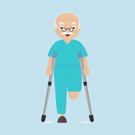 Amputee senior man on crutches. Ilustração