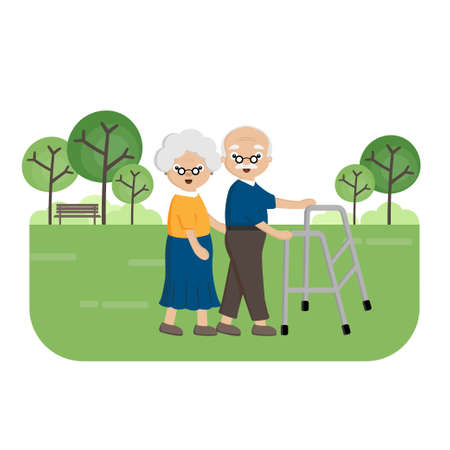 Senior Elderly couple in the park. Old woman helps an elderly man walking with a walker.