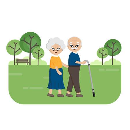 Senior Elderly couple in the park. Old woman helps an elderly man walking with a walker.