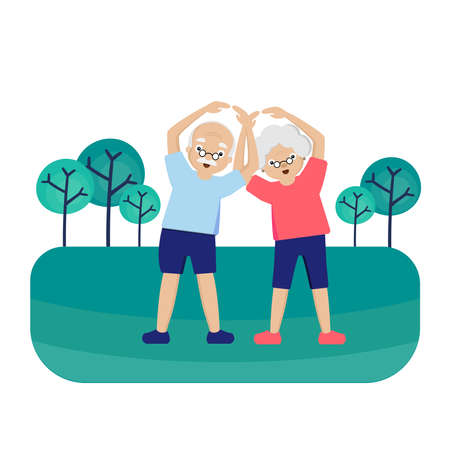 Senior couple is exercising in park.