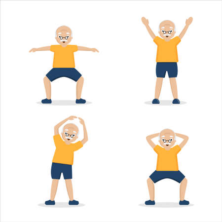 Senior man doing exercises on a white background.