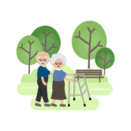 Senior Elderly couple in the park. Old man helps an old woman walking with a walker.