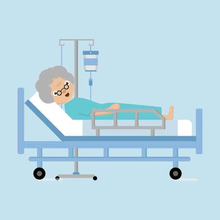 Femmes âgées allongées dans un lit d'hôpital avec un compteur de gouttes.