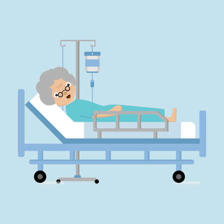 Senior women lying in hospital bed with a drop counter. Illustration