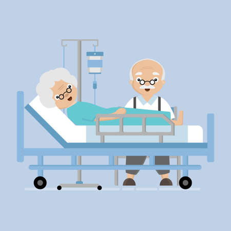 Senior Elderly couple in the hospital. Love and take care for each other concept. Illustration