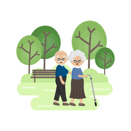 Senior Elderly couple in the park. Old man helping  an old woman with walking stick.
