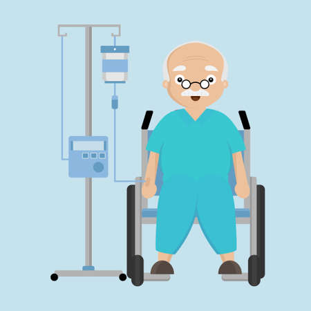Senior Male sitting on wheelchair with a drop counter.