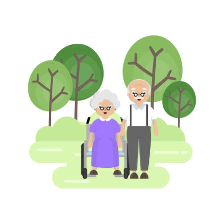 Senior Elderly couple in the park. Old man carries an old woman in a wheelchair.