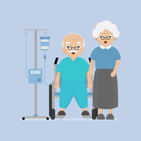 Senior Elderly couple in the hospital. Love and take care for each other concept. Çizim