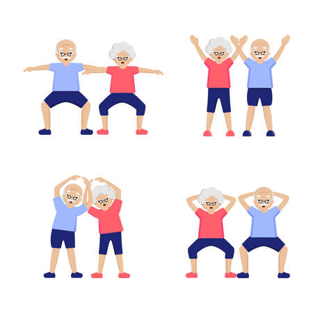 Couple Elderly people doing exercises.