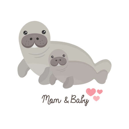 Mom and baby manatee. Mothers day card.