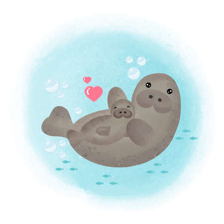 Cute Manatee and baby cartoon.