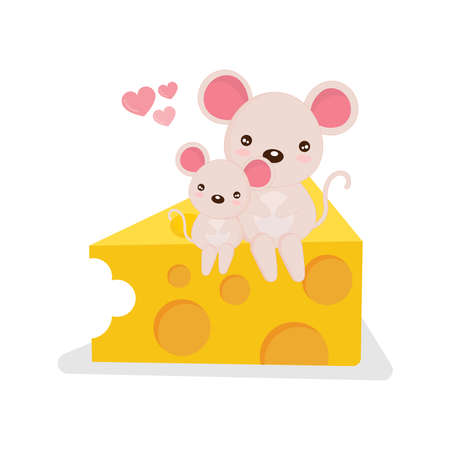 Little mouse and her mom  siting on a piece of cheese.
