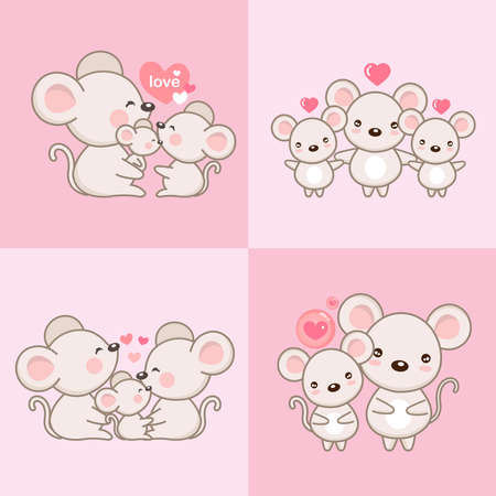 Mouse Family Father Mother and Newborn Baby.  Vector illustration. Stock Vector - 132078517