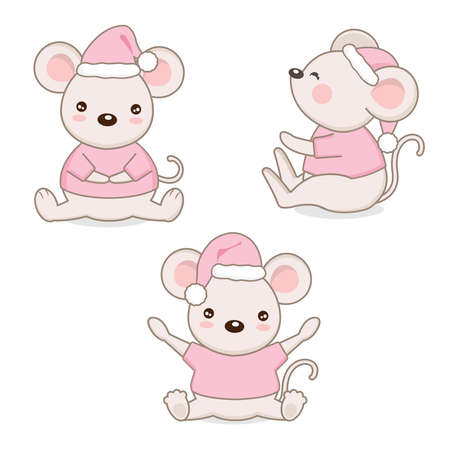 Cute mouse  in cartoon style.