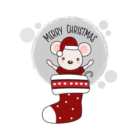 Merry christmas card  mouse in red hat in cartoon style.  イラスト・ベクター素材