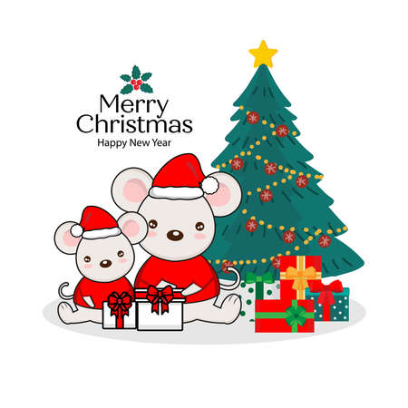 Merry christmas Greeting Card. Cute  mouse hold a New Years gift.