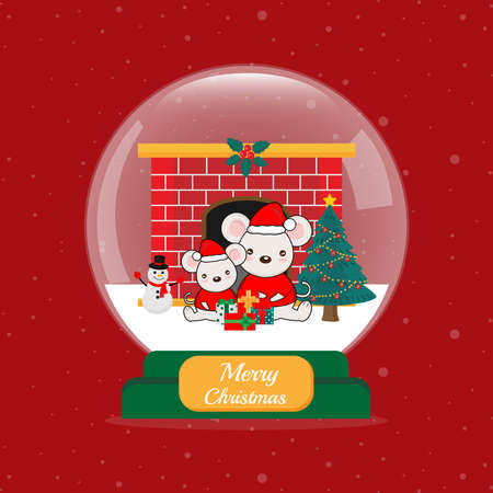 Merry Christmas card with cute mouse in snow globe.  イラスト・ベクター素材