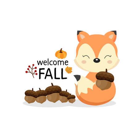 Greeting card for the fall season. Cute fox holding acorns.