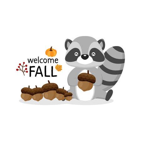 Greeting card for the fall season. Cute raccoon holding acorns. Stok Fotoğraf - 132297997